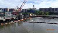 June 2017 - Installing steel bulkhead to protect the river north of the 115 River Road pier